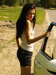 Teen hitchhiker Ariel convinced to fuck outdoor
