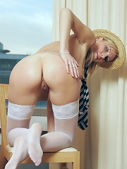 Sexy white stockings and schoolgirl outfit