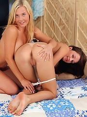 Naughty lesbian & dildo action