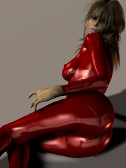 Cute brunette in red pvc poses in 3d