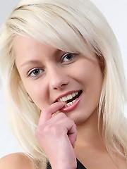 Czech teen Pinky June shows ass and pussy up-close