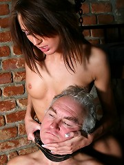 Chained senior gets abused sexual